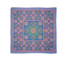 Floral Rangoli Pattern with Border on Blue Scarf