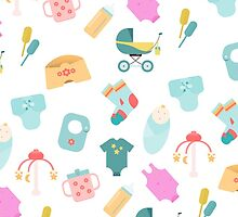 Pattern of baby goods icons. Children flat icons. With the new baby! by HelgaScand