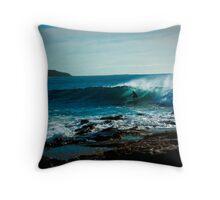 blue surfer Throw Pillow
