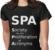 SPA - White Lettering, Funny Womens Fitted T-Shirt