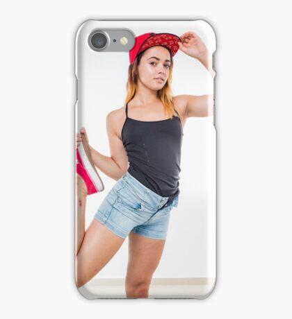 Flexible female teen with red baseball cap wearing black top  iPhone Case/Skin