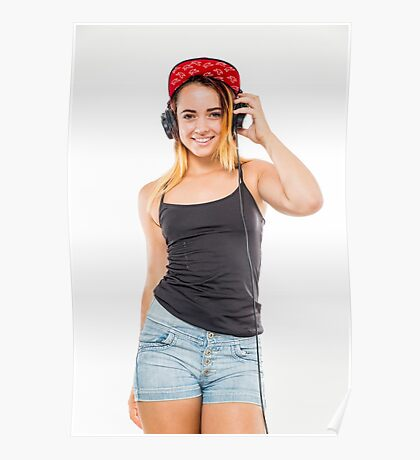 Playful female teen with headphones and red baseball cap wearing black top  Poster