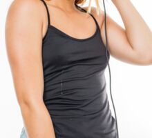Playful female teen with headphones and red baseball cap wearing black top  Sticker