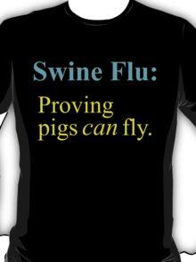 Swine Flew - Cyan & Yellow Lettering, Funny T-Shirt