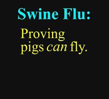 Swine Flew - Cyan & Yellow Lettering, Funny Unisex T-Shirt
