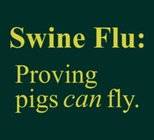 Swine Flew - Yellow Lettering, Funny by Ron Marton