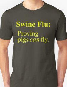Swine Flew - Yellow Lettering, Funny T-Shirt