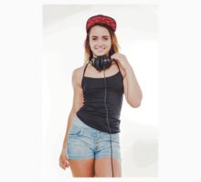 Playful female teen with headphones and red baseball cap wearing black top  T-Shirt
