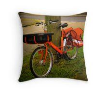 The Postman's bike Throw Pillow