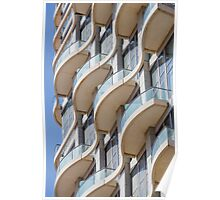 Balconies on a residential building form a repetitive pattern  Poster