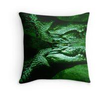 Salt Water Crocodile Reflection Throw Pillow