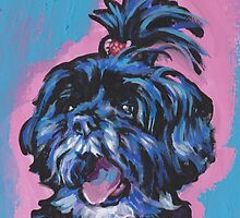 Shih Tzu Bright colorful pop dog art by bentnotbroken11