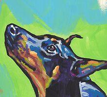 Doberman Pinscher Dog Bright colorful pop dog art by bentnotbroken11