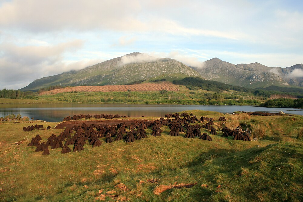 Turf cutting in Lough Inagh valley by John Quinn