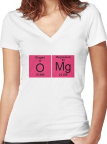 "Funny Periodic table ""OMG"" Oh My God Women's Fitted V-Neck T-Shirt"