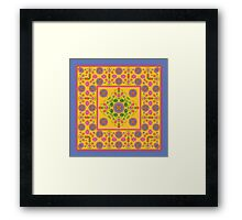 Floral Rangoli Pattern with Border on Yellow Framed Print