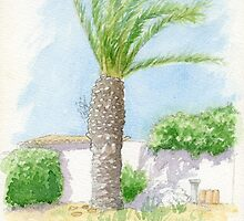 Portugal villa with tree by Carl Conway