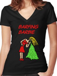 Barfing Barbie  Women's Fitted V-Neck T-Shirt