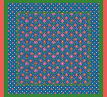 Rangoli Flowers Pattrn and Polka Dots on Deep Blue by helikettle