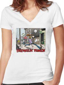 Fabulous Furry Freak Brothers Freewheelin Franklin Women's Fitted V-Neck T-Shirt