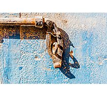 dead bolt and Blue Weathered wooden background and Photographic Print