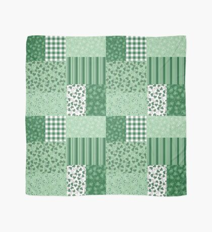 Chic Green Shamrocks Faux Patchwork Pattern Scarf