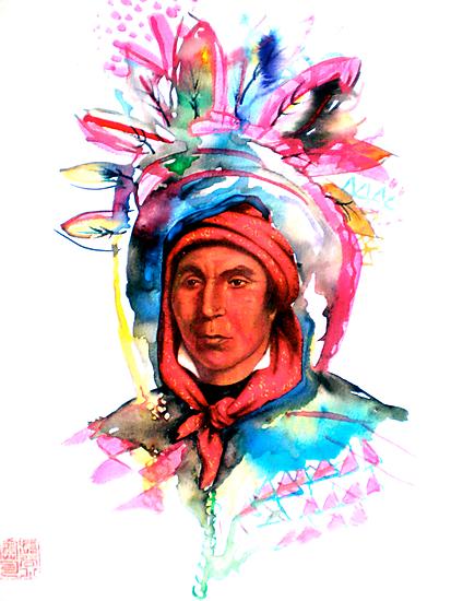 Native American Headdress by Kenji Hasegawa
