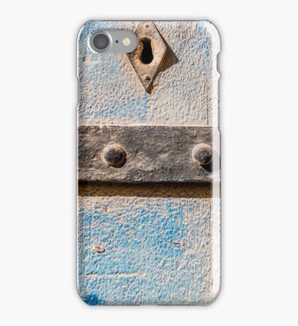 Blue Weathered wooden background and hinges  iPhone Case/Skin