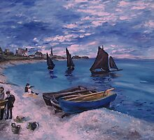 Monet Beach at  Sainte Adresse painting by schiabor