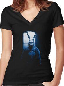 Frank the Donnie Darko rabbit costume Women's Fitted V-Neck T-Shirt