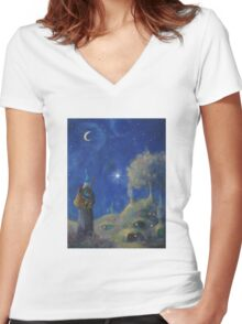 Hobbiton Christmas Eve Women's Fitted V-Neck T-Shirt