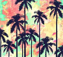 Colorful Neon Watercolor with Black Palm Trees by Blkstrawberry