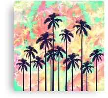 Colorful Neon Watercolor with Black Palm Trees Canvas Print