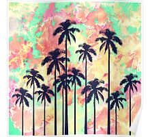 Colorful Neon Watercolor with Black Palm Trees Poster