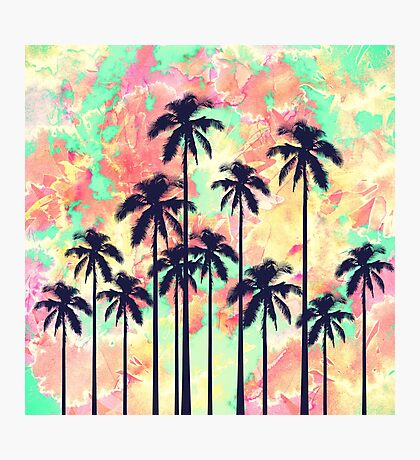 Colorful Neon Watercolor with Black Palm Trees Photographic Print