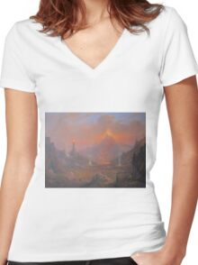Mordor.Land Of Shadow Women's Fitted V-Neck T-Shirt