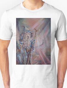 Gandalf (The colours of Saruman) Acrylic/Oil on textured canvas. T-Shirt