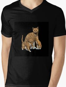 Mama Cat and the Twins Mens V-Neck T-Shirt