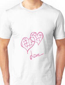 2 pink hearts Unisex T-Shirt