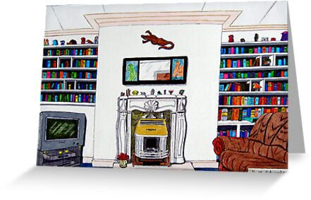 258 - OUR LOUNGE - DAVE EDWARDS - MIXED MEDIUM - 2009 by BLYTHART