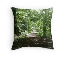 A long, long way through the woods Throw Pillow