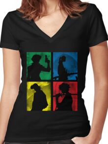 Watanabe's Classic Main Characters Women's Fitted V-Neck T-Shirt