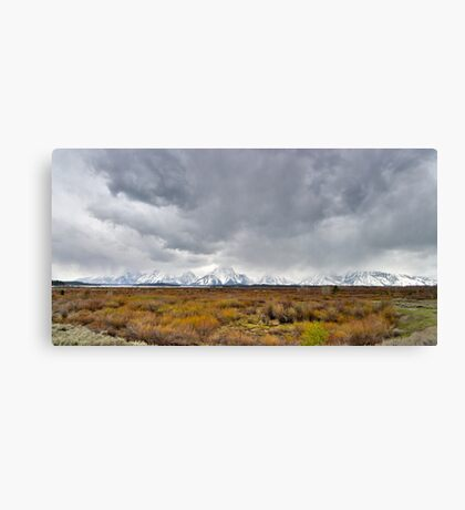 Stormy Day - Willow Flats Overlook - Teton National Park - Panorama Canvas Print