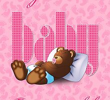 Sleeping Ted - Baby Pink (Card) by ifourdezign