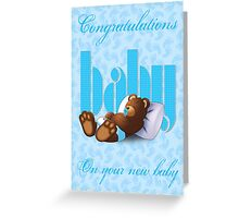 Sleeping Ted - Baby Blue (Card) Greeting Card