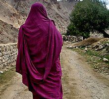 path. buddhist monk, ladakh, india by tim buckley | bodhiimages