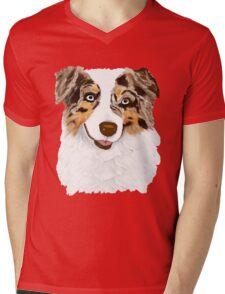 Red Merle Australian Shepherd Dog Mens V-Neck T-Shirt