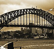Sydney Harbour Bridge In Sepia by Evita
