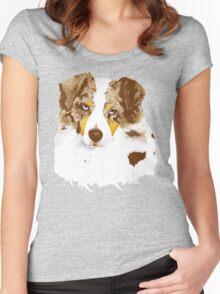 Red Merle Australian Shepherd Dog Portrait Women's Fitted Scoop T-Shirt