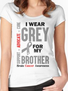 I Wear Grey For My Brother (Brain Cancer Awareness) Women's Fitted Scoop T-Shirt